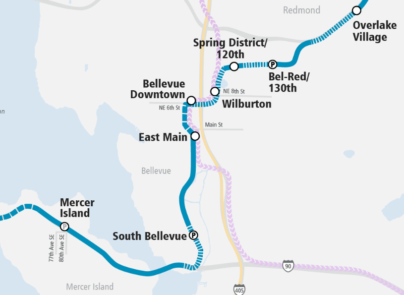 Bird's eye view of light rail through Bellevue | Bellevue.com