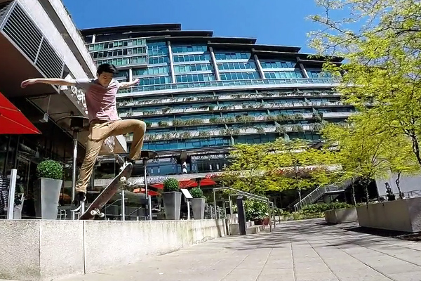 Skateboarding jumps with Fred at the Elements Building | Bellevue.com